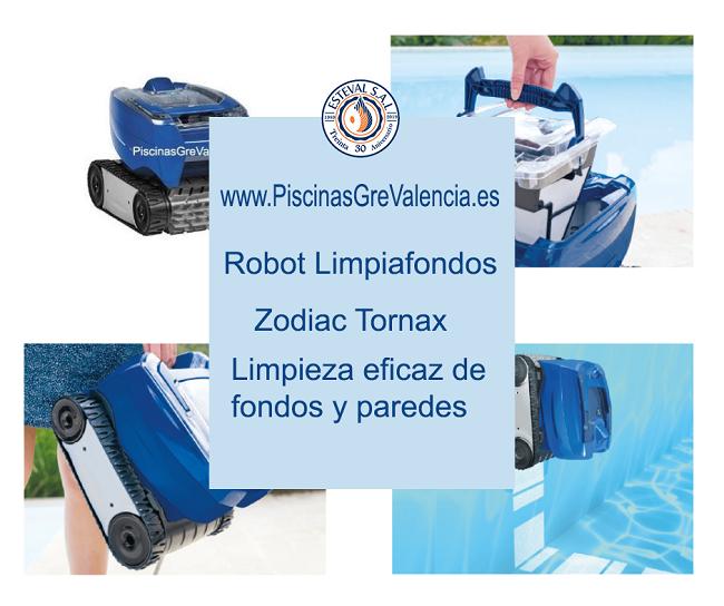Robot limpiafondos automático de piscinas, Zodiac Tornax . Limpieza eficaz de fondo y paredes. Puedes encontrarlo en la Tienda Online de PiscinasGreValencia.