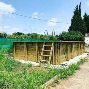 Instalación piscina desmontable de madera Gre modelo Braga