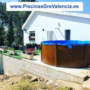 Instalación Piscina desmontable Gre imitación madera