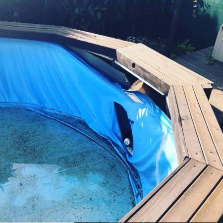 Cambio de piscina desmontable Gre KIT730ECO recubierta en madera