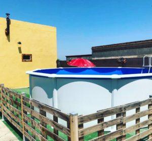 Instalación piscina desmontable Gre serie Atlantis KIT458. Medidas 460 y132